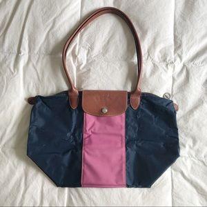 LONGCHAMP Le Pilage Color Block Pink Blue Tote Bag